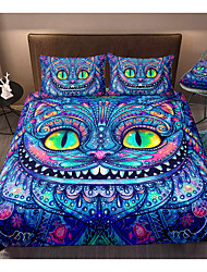 cheap -Cat Print 3-Piece Duvet Cover Set Hotel Bedding Sets Comforter Cover with Soft Lightweight Microfiber, Include 1 Duvet Cover, 2 Pillowcases for Double/Queen/King(1 Pillowcase for Twin/Single)