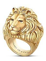 cheap -heart of a lion 24k gold-plated men's ring: 9