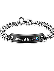 cheap -his hers matching couples bracelet stainless steel always forever black rhinestone valentine anniversary wedding bangle jewelry (always & forever men black 1pc)