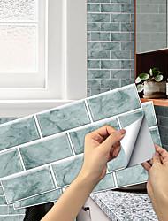 cheap -imitation retro ceramic tile kitchen stickers waterproof and oily fume-proof rain green flake self-adhesive decorative wall stickers 15cm*30cm*6pcs
