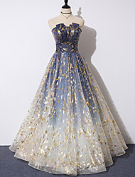 cheap -A-Line Color Block Sparkle Prom Formal Evening Dress Strapless Sleeveless Floor Length Tulle with Pleats Pattern / Print 2021
