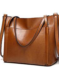 cheap -women oil leather tote handbags vintage shoulder bags capacity crossbody bags