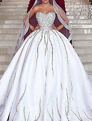 cheap -Princess Ball Gown Wedding Dresses Strapless Sweep / Brush Train Satin Sequined Sleeveless Formal Romantic Luxurious Sparkle & Shine with Pleats Beading Sequin 2021