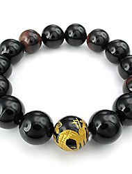 cheap -14mm Tiger Eye Stone Onyx Agate Mens Bracelet, Dragon King Pattern Bead, Gold Black Red