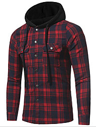 cheap -men's 8620 plaid quilted lined flannel full-zip hooded jacket (large, red)