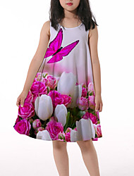 cheap -Kids Little Girls' Dress Butterfly Floral Graphic Animal Print Blushing Pink Asymmetrical Sleeveless 3D Print Cute Dresses Loose