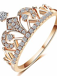 cheap -princess crown tiara cubic zirconia engagement rings for women,18k rose gold plated tiny cz promise girl rings wedding bands (rose gold, 8)