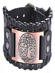 cheap -eueavan tree of life yggdrasil pentagram braided wide talisman leather wristband bracelet (antique copper,black)