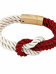cheap -Women's Men's Braided Rope Chain Bracelet with Magnetic Clasp Bow Charm Bangle - Claret