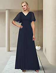 cheap -A-Line Mother of the Bride Dress Elegant V Neck Ankle Length Chiffon Half Sleeve with Ruching 2021