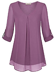 cheap -Women's Tunic Tops, Ladies Casual 3/4 Sleeve Plus Size Summer Office Top Chiffon Shirts Dressy Tops and Blouses Layered Curved Hem Comfy Office Wear Business Cloth Purple XX-Large