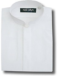 cheap -Black Banded Collar Poly Cotton Shirt for Men