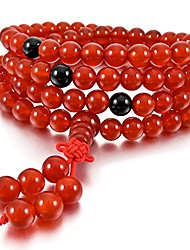 cheap -men,women's 6mm bracelet link wrist necklace simulated agate red tibetan buddhist buddha mala bead chinese knot elastic