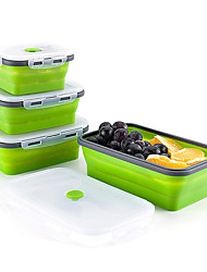 cheap -Food Storage Containers Silicone Folding Bento Lunch Box Collapsible Foldable Microwave Meal Prep Silicone Box Reusable Lunch Box Portable Set Picnic Boxes FDA