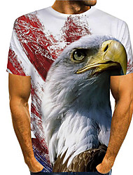 cheap -Men's T shirt 3D Print Graphic Eagle Animal Print Short Sleeve Daily Tops Basic Casual White
