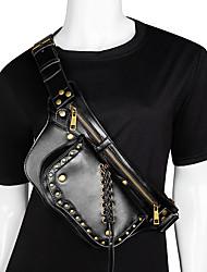 cheap -Women's Bags PU Leather Sling Shoulder Bag Beading Zipper Plain Rivet 2021 Daily Outdoor Black