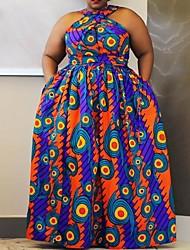 cheap -Women's Plus Size Dress Swing Dress Maxi long Dress Sleeveless Polka Dot Prom Dresses Spring & Summer Fall & Winter