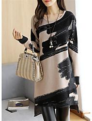 cheap -Women's Shift Dress Short Mini Dress Light Brown Light gray Long Sleeve Print Print Fall Winter Round Neck Casual 2021 M L XL XXL 3XL