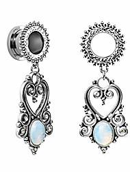 cheap -Stainless Steel Teardrop Opal Wedding Earrings Large Dangle Bridal Plug Ear Gauges Stretching Tapers Screw Fit Tunnels Gauge 2g - 1-3/16 inch