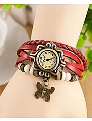 cheap -Fashion Accessories Trial Order New Quartz Fashion Weave Wrap Around Leather Bracelet Lady Woman Butterfly Wrist Watch,Red