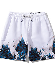 cheap -Men's Casual Sports Board Shorts Swimsuit 3D Print Normal Swimwear Bathing Suits White