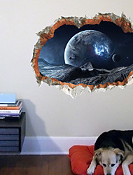 cheap -3d broken wall starry sky effect children's room background wall decoration the moon starry sky sticker wall paste 70*45cm Wall Stickers for bedroom living room