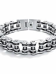 cheap -mens titanium steel 15mm motorcycle chain bicycle biker chain bracelet 8.66 inch (silver & black)