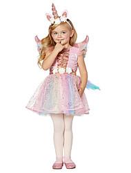 cheap -Unicorn Dress Girls' Movie Cosplay Rainbow Dress Halloween Children's Day New Year Polyester / Cotton