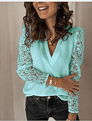 cheap -Women's Blouse Eyelet top Shirt Solid Colored Long Sleeve Lace Patchwork V Neck Basic Sexy Tops Regular Fit Chiffon Lace Blue Blushing Pink Green