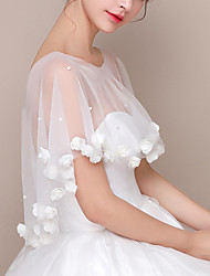 cheap -Sleeveless Shawls / Bridal Chinlon Wedding / Party / Evening Shawl & Wrap / Women's Wrap With Floral / Pearls