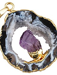 "cheap -Irregular Natural Crystal Quartz Agate Druzy Geode Slice Pendant for Necklace,with Amethyst in Center, 0.5""-1.2"""