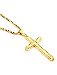 cheap -14K Gold Chain Cross Pendant Necklace for Men, Women w/real strong Solid Clasp Miami Cuban Link style (18)