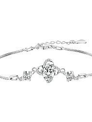 cheap -Women's Clear Cubic Zirconia Bracelet Geometrical Heart Stylish Simple Copper Bracelet Jewelry Silver For Daily Promise