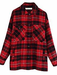 cheap -Women Plaid Jackets CoatLadies Collar Wool Blend Coats Long Sleeve Autumn Winter Warm Jackets Female Outwear