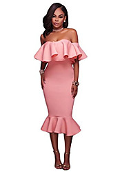 cheap -women's off shoulder ruffle evening party bodycon mermaid cocktail party midi dress ((uk 20-22) xl, pink)