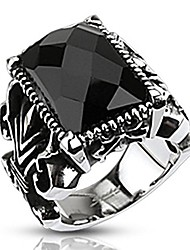 cheap -Rectangle Onyx Faceted Stone set Gothic Ring 316L Stainless Steel