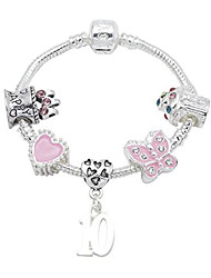 cheap -10th Birthday Silver Plated Charm Bracelet for Girls (18)