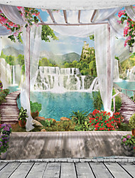 cheap -Window Landscape Wall Tapestry Art Decor Blanket Curtain Hanging Home Bedroom Living Room Decoration Waterfall Lake River Garden