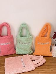 cheap -women lamb wool letter pattern solid color soft small handbag