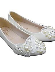 cheap -Women's Wedding Shoes Cone Heel Round Toe Wedding Pumps Sweet Wedding PU Rhinestone Flower Solid Colored 3 cm heel [standard size] 5 cm heel [standard size] 8 cm heel [standard size]