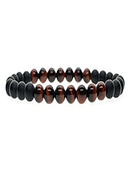 cheap -6mm Matte Onyx Tiger Eye Semi Precious Stones Buddha Bracelet M