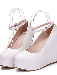 cheap -Women's Heels Wedge Heel Pointed Toe Sexy Minimalism Roman Shoes Wedding Party & Evening PU Solid Colored White