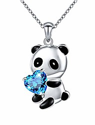 """cheap -Sterling Silver Cute Panda Necklace with Blue Heart CZ Panda Bear Necklace for Women Girl, 18"""""""