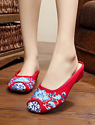 cheap -big size mary janes chinese style flat loafers handmade flower printing shoes