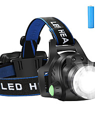 cheap -Headlamps Headlight Waterproof Rechargeable 1200 lm LED LED 1 Emitters 3 Mode with Batteries Waterproof Zoomable Rechargeable Adjustable Camping / Hiking / Caving Everyday Use Cycling / Bike