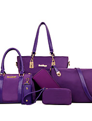 cheap -6 pcs women casual nylon handbag shoulder bag clutch bag