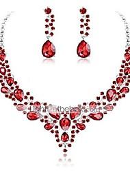 cheap -crystal bridal jewelry set for women rhinestone necklace earrings wedding bridesmaid