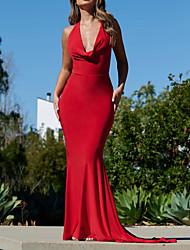 cheap -Mermaid / Trumpet Beautiful Back Sexy Wedding Guest Formal Evening Dress V Neck Sleeveless Sweep / Brush Train Italy Satin with Sleek 2021