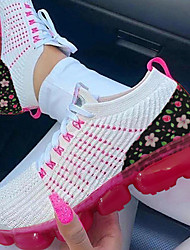 cheap -Women's Trainers Athletic Shoes Wedge Heel Round Toe Classic Daily Mesh Color Block White Red
