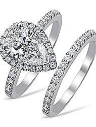 cheap -101 Facets Realistic 2 carats pear Shape Simulated Diamond Ring Band